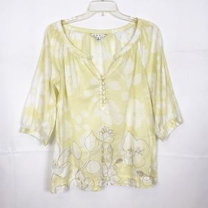 CaBI #362 SONGWRITER Top-Cotton-Yell/Wht Floral-Sm